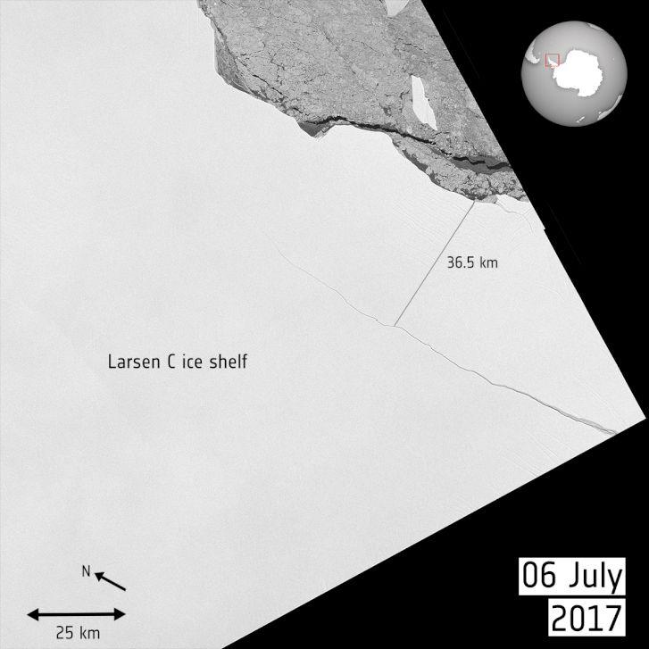 A jéghegy mozgása az Európai Űrügynökség animációján.