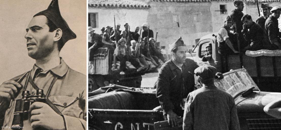 Durruti, az anarchisták egyik vezére. A bal oldali felvétel Kolcov naplójából való.
