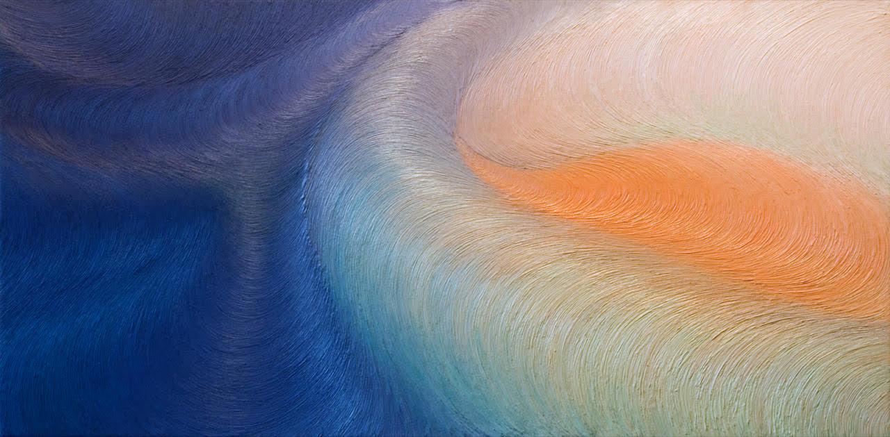 Bernát András – Objektum No.509.                         A festmény, amely Bernát András majd tíz éve festett művei közül való, a tőle megszokott monokróm nyugalom helyett erős színekkel lep meg. A kék és okker komplementer játéka megtöri a megszokott egyszínűséget, a színek találkozása  ha úgy tetszik, ütközése  elemi erejű hatást kelt. Bernát festészete a tájhoz kapcsolódik: a képzeletbeli, álomszerű tájak és a testtájak egymás képi szinonimáiként vannak jelen. Érzékeny, lírai, absztrakt festészet. A tér a színek áramlásában, lüktetésében kitágul, és egyre nagyobbá terebélyesedik. A speciális technika  az alumíniumporral kevert festék rétegzése  vibrálóvá teszi a kék, a zöld, a fehér, az okker árnyalatait. A vibrálás nem nyugtalanító, inkább áramlás érzetét kelti, melyben a néző felfedezheti a képből áradó végtelenséget. Bernát képei tartózkodnak a történetmeséléstől. Itt, most talán elgondolkozhatunk rajta, hogy vajon a fény töri-e meg a sötétet, vagy a sötétség nyeli el a ragyogó végtelent.