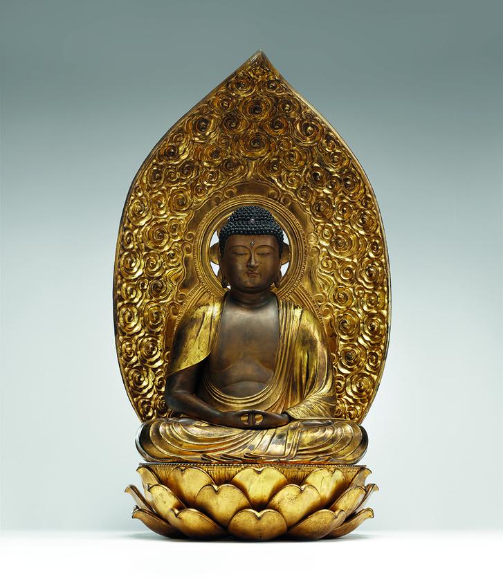 Amida bucu. Japán, 17–18. század.                          Fa, lakkozott, aranyozott.                          Hopp Ferenc Ázsiai Művészeti Múzeum, Budapest