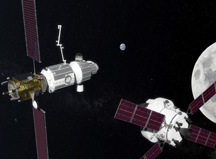 Orion visiting Deep Space Gateway