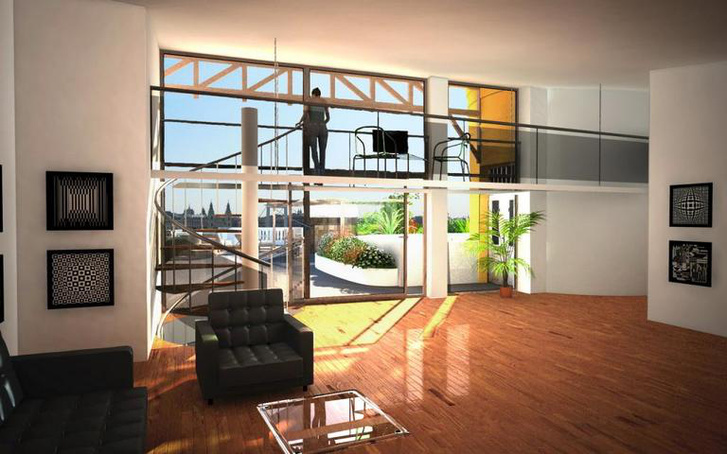 Terv a lakás felső szintjének kialakítására (további képek a itt)