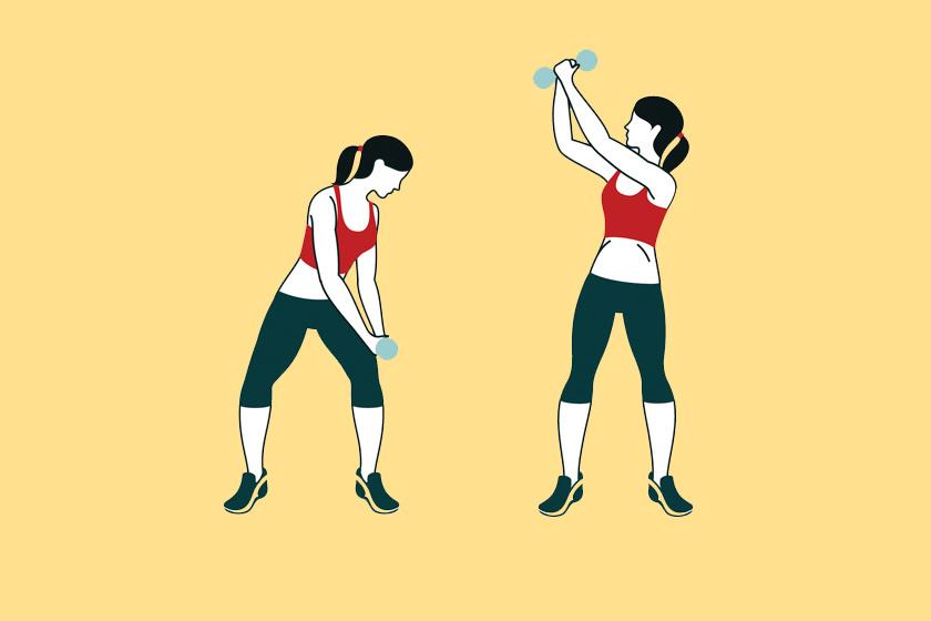 Fogj egy nagyobb súlyzót két kézzel, állj kisterpeszbe, majd a combközéptől indulva lendíts felfele és vissza, mintha fát vágnál. Két sorozatban csináld mindig 12-szer.