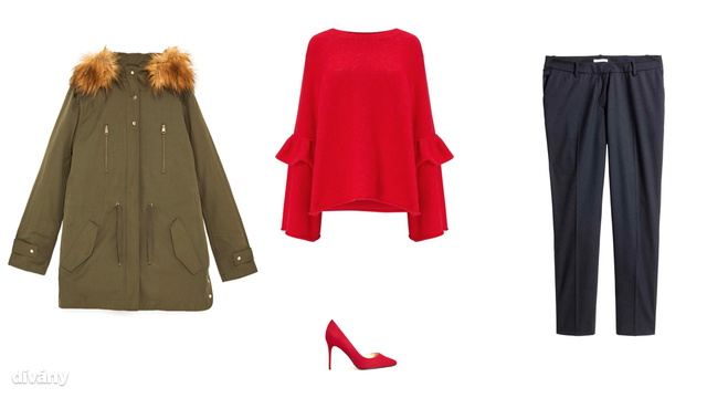 Kabát - 15995 Ft (Zara), pulóver - 5990 Ft (F&F), cipő - 9995 Ft (Mango), nadrág - 6990 Ft (H&M)