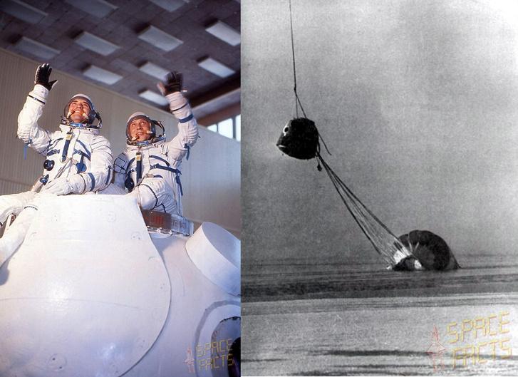 Balra: a két űrhajós még kiképzés közben, jobbra: helikopterrel próbálták kiemelni a jeges vízből a kabint