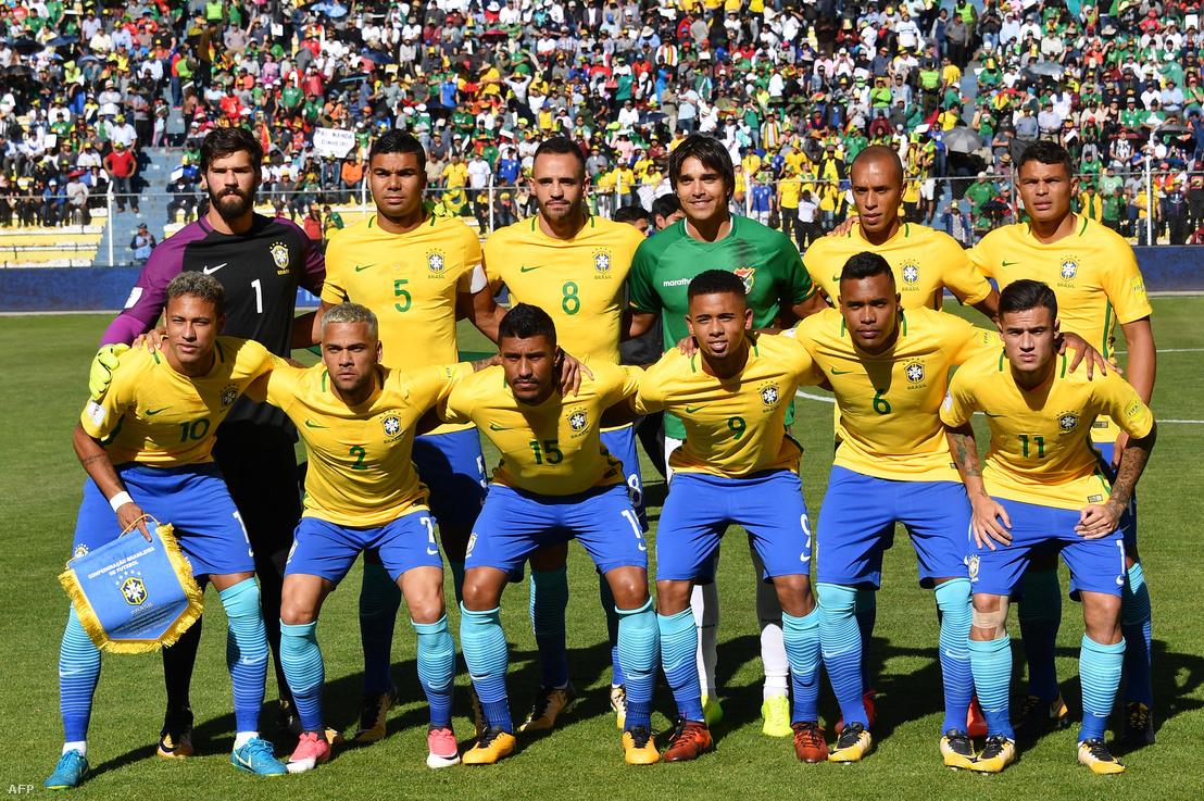 A brazil labdarúgó-válogatott csapatképe a Bolívia-Brazília világbajnoki selejtező csoportmérkőzés előtt (2017. október 5., La Paz, Bolívia).