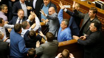 Dulakodtak az ukrán képviselők a parlamentben