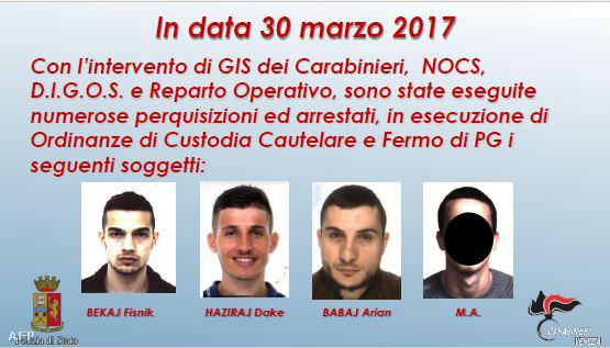 Az olasz rendőrség által kiadott kép a 2017. március 30-án, terrorizmus gyanújával letartóztatott férfiakról, akik a Rialto-hidat készültek felrobbantani.
