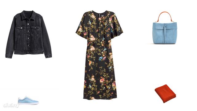 Dzseki - 9990 Ft (H&M), cipő - 5990 Ft (H&M), ruha - 9995 Ft (Zara) , táska - 9995 Ft (Mango), sál - 5995 Ft (Mango)