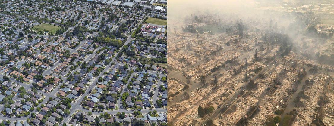 Ez pedig egy Google Earth fotóval kombinált légi felvétel a pusztításról.