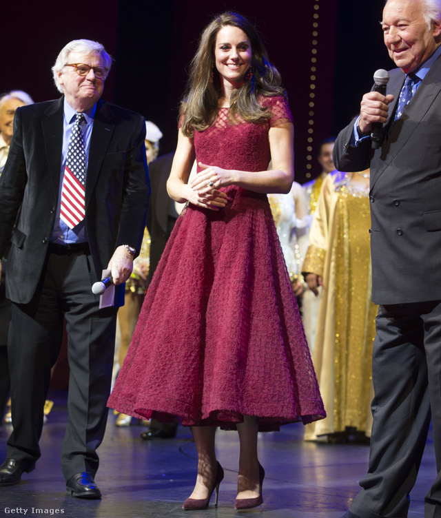Catherine Duchess of Cambridge Lord Michael grade and Michael linnit take part in a presentation during the Opening Night Royal Gala performance of 42nd Street in aid of the East Anglia Children's Hospice at the Theatre Royal Drury Lane on April 4 2017 in London England
