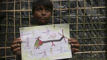 Vérben úszó emberekről rajzolnak a rohingja kisgyerekek