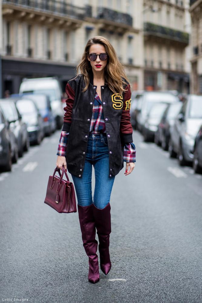 Vörösbor színű csizmával és táskával teheted divatossá a klasszikus iskoláslány szettet a szezonban.