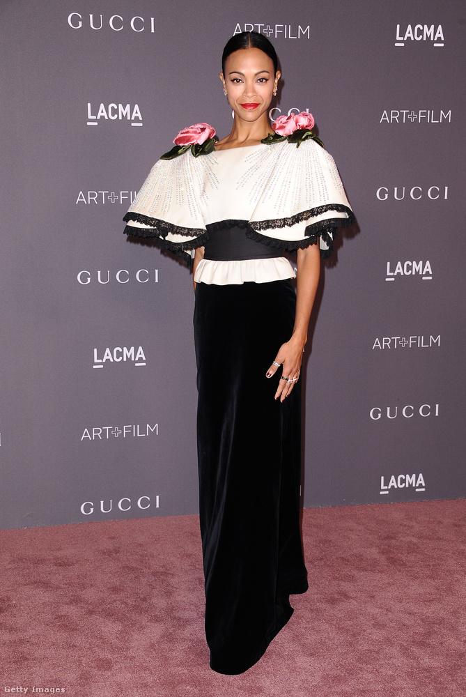 Szerettük Zole Saldana fekete-fehér Gucci estélyiét.