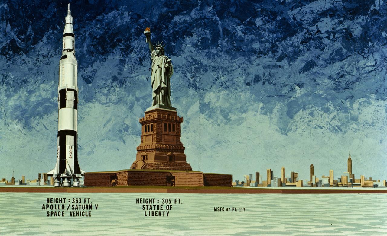 Az alig 93 méter magas New York-i Szabadság-szobor és a 110 méteres Saturn-V összehasonlító illusztrációja.