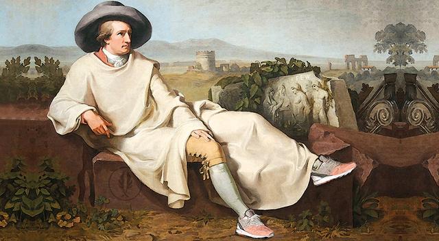 A cipőt a költő eredeti nyelven írt versei és egyedi árnyképei díszítik, színeit a düsseldorfi Goethe múzeum inspirálta.
