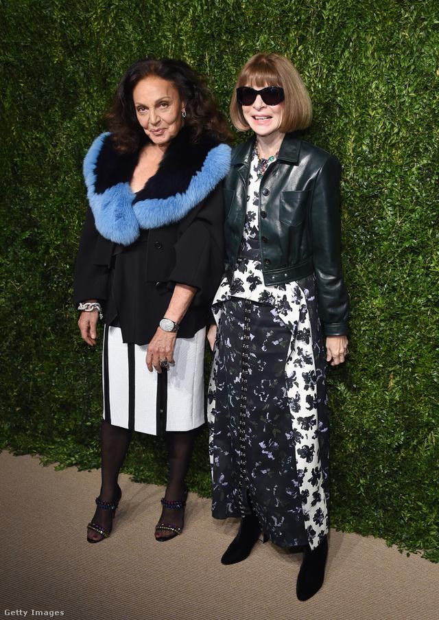 Diane von Furstenberg szerint menő a szőrmegallér, Anna Wintour pedig a bőrdzsekit és a virágos ruhát találta a legmegfelelőbbnek a díjátadóra.