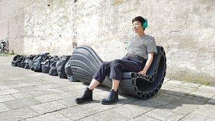 Műanyag hulladékból városi pad
