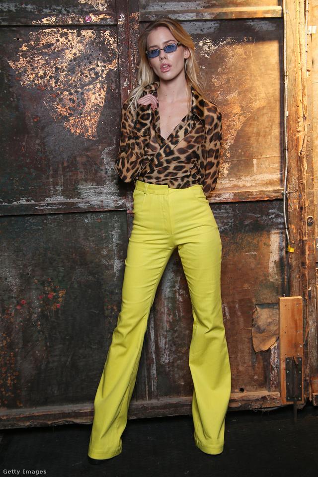 Állatmintás blúz és sárga nadrág az ijesztő nevű  Lika4lika kollekciójában.