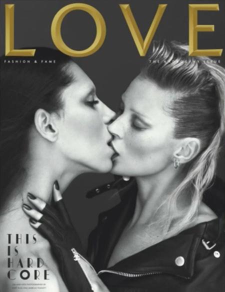 Kate Moss és Lea T csókolóznak a Love címlapján