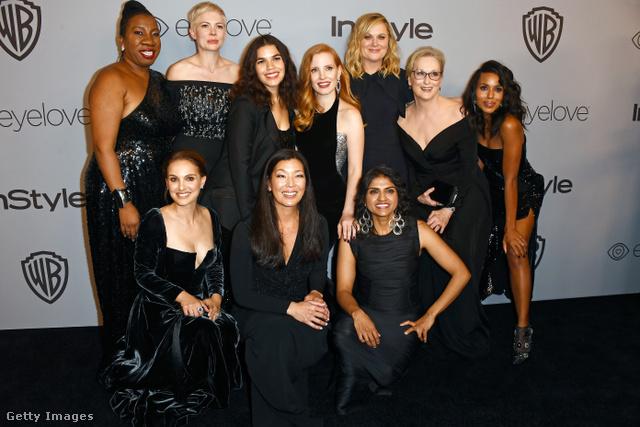 Aktivista színésznők feketében: Tarana Burkle, Michelle Williams, Jessica Chastain, Amy Poehler, Meryl Streep, Kerry Washington, Natalie Portman, Ai-jen Poo és Saru Jayaraman.