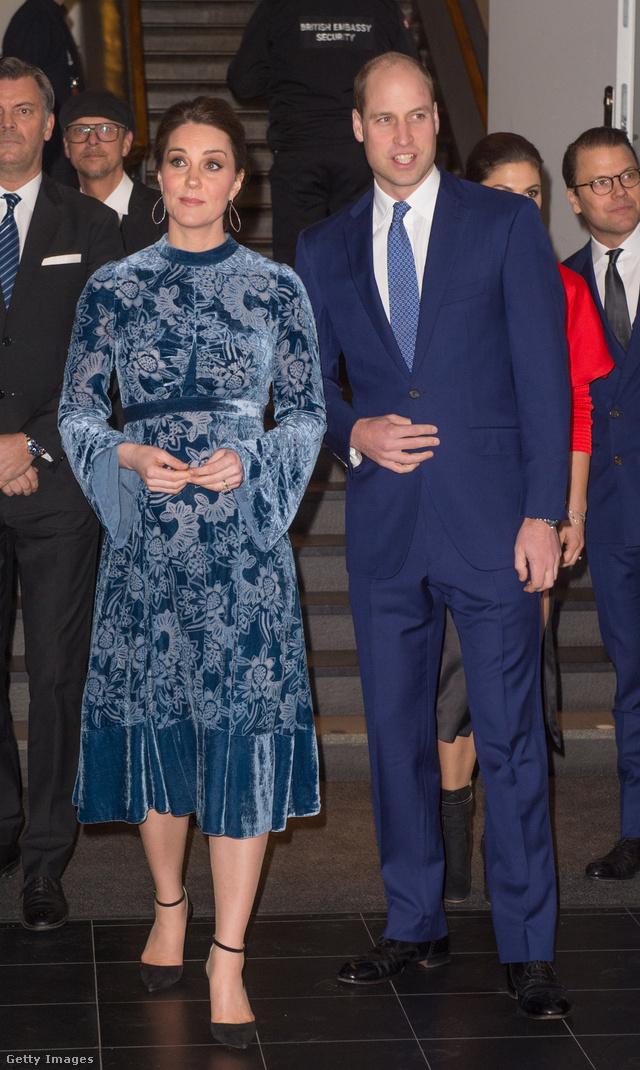 Nem először hangolta össze megjelenését Vilmos herceg és neje. Nekünk talán ez a kék Erdem bársonyruha a kedvenc a hercegné skandináv szettjei közül.