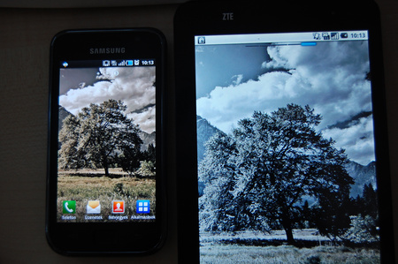 A kép nem fekete-fehér, a ZTE V9 kijelzője fakó