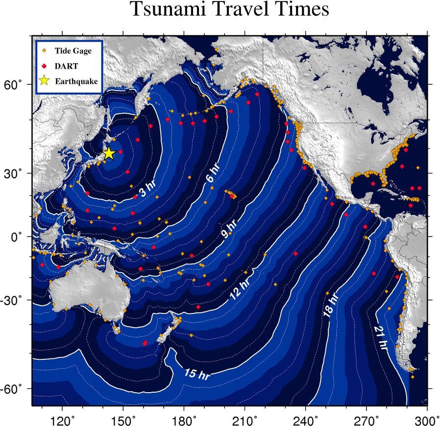 A cunami terjedési térképe