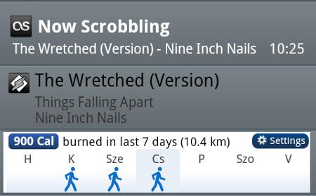 Értesítési mező Androidon: fut a WinAmp, a Last.fm éppen közzéteszi, hogy mit hallgatok, a CardioTrainer pedig azzal sokkol, hogy hét nap alatt csak 900 kalóriát égettem el. Szánalmas teljesítmény.