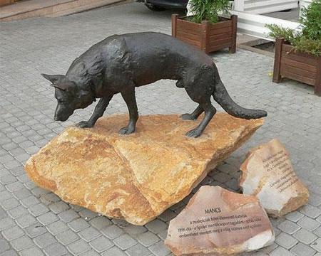2004 decemberében avatták fel Mancs szobrát Miskolc belvárosában, a Szinva patak partján