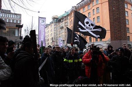 Pirate Bay-párti tüntetés Stockholmban