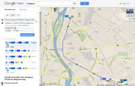 A Google útvonalterve a Köki és a Flórián tér között