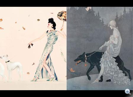 Egy kétségtelenül ihletett alkotás, Christian Dior  1997 és egy ismeretlen tervező kb. 1930