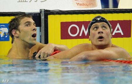 Phelps és Lochte a befutó után