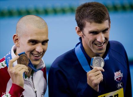 Cseh és Phelps az érmekkel (Fotó: Illyés Tibor)