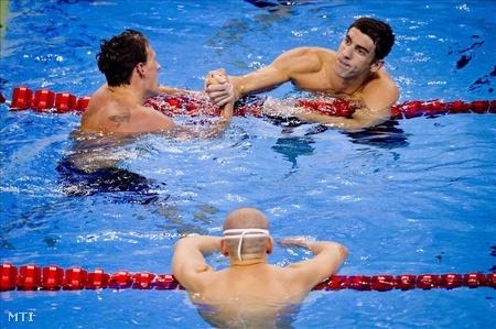 Cseh és az amerikaiak, Lochte és Phelps (Fotó: Illyés Tibor)