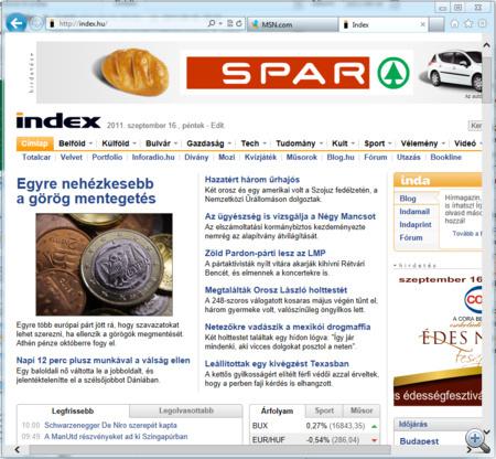 A másik Internet Explorer úgy néz ki, mint ami a Windows 7-en fut.