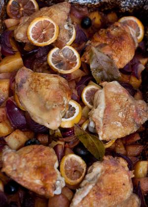 tepsis csirke citrom+olajbogyoval
