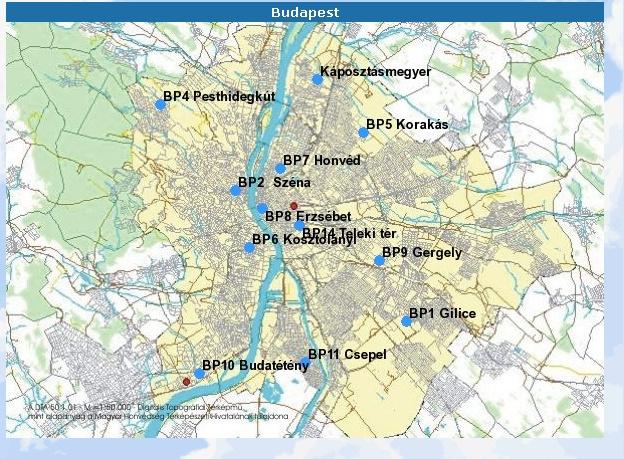 Az Országos Légszennyezettségi Mérőhálózat állomásai Budapesten