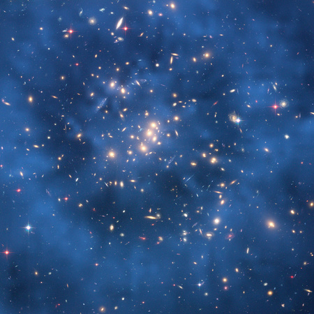 A CL0024+17 galaxishalmaz magját körülvevő sötét anyag gyűrűje a Hubble űrteleszkóp felvételén
