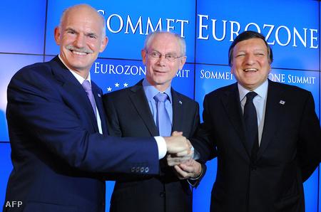 Papandréu, Van Rompuy és Barroso a július 21-i EU-csúcson