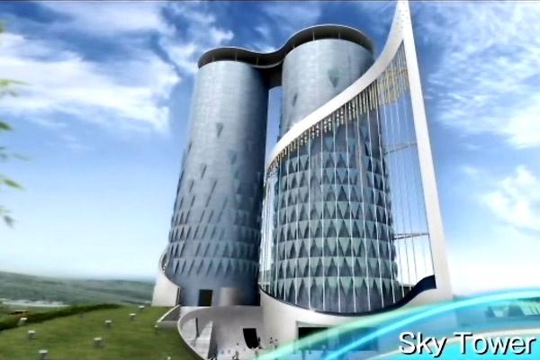Az expo emblematikusnak szánt épülete, a Sky Tower