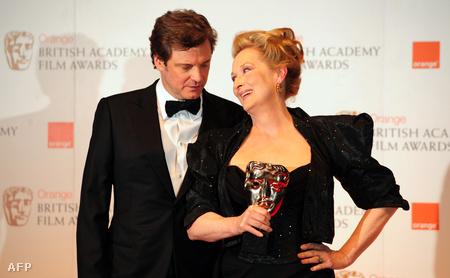 Meryl Streep és Colin Firth a BAFTA-díjkiosztón