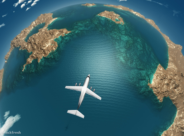stockfresh 874153 airplane-flight-above-sea-islands sizeM