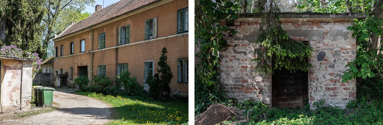 A báró egykori háza (b) és a jégverem (j)