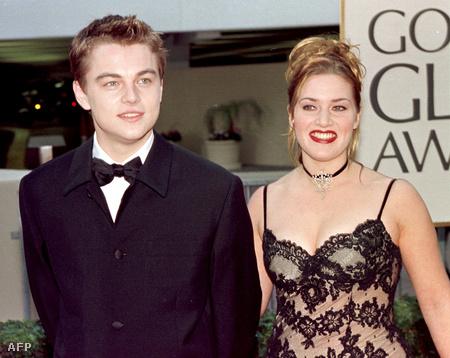 1998. január 18. - Leonadro DiCaprio és Kate Winslet a Golden Globe-kiosztón, nem sokkal a Titanic 1997 végi premierje után