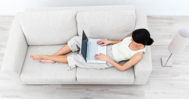 stockfresh 38562 young-woman-at-home-using-computer sizeM