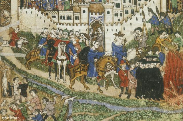 A templomosok elpusztítását nézi IV. Fülöp francia király (c1350-c1399).