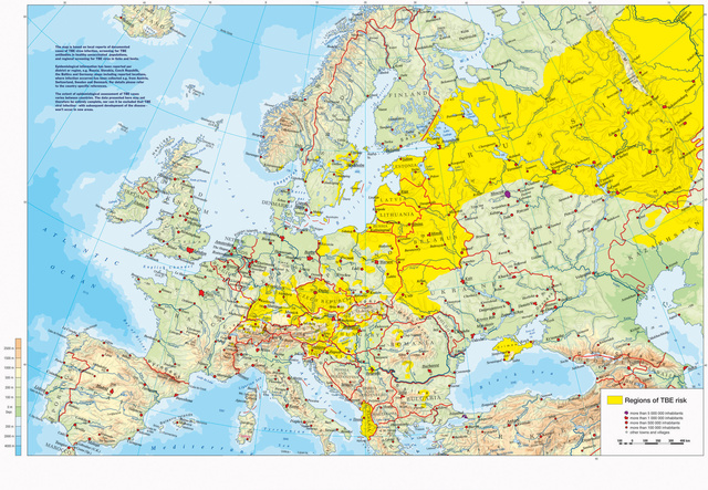 A kullancsok által terjesztett vírusos agyvelő és agyhártyagyulladás kórokozója, a kullancs encephalitis vírus európai elterjedtsége