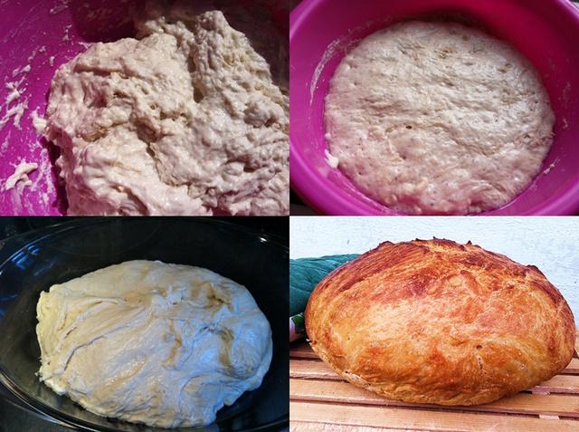 1. bekevert tészta 2. megkelt tészta 3. sütés előtt 4. sütés után
